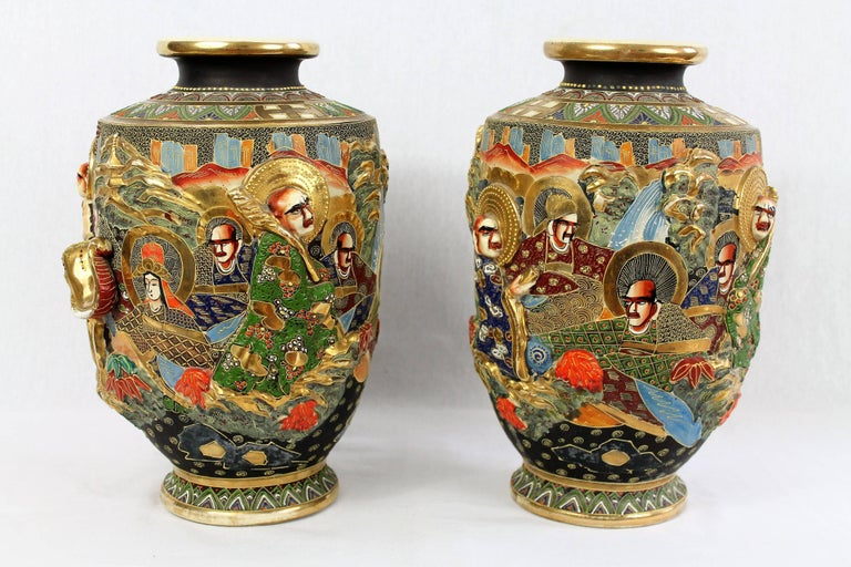 Pair Of Satsuma Porcelain Vases Relief Decor Japan For Sale At 1stdibs