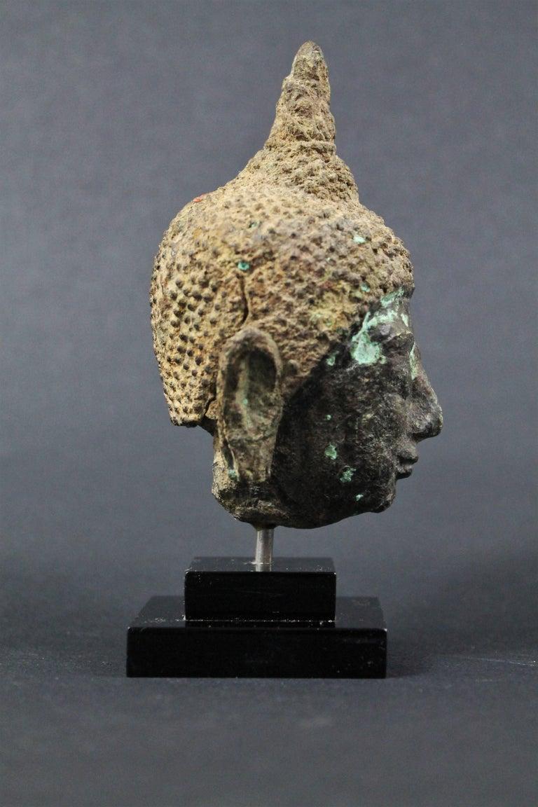 18th Century and Earlier Thai 17th Century Bronze Head of Buddha. Sukhothai For Sale