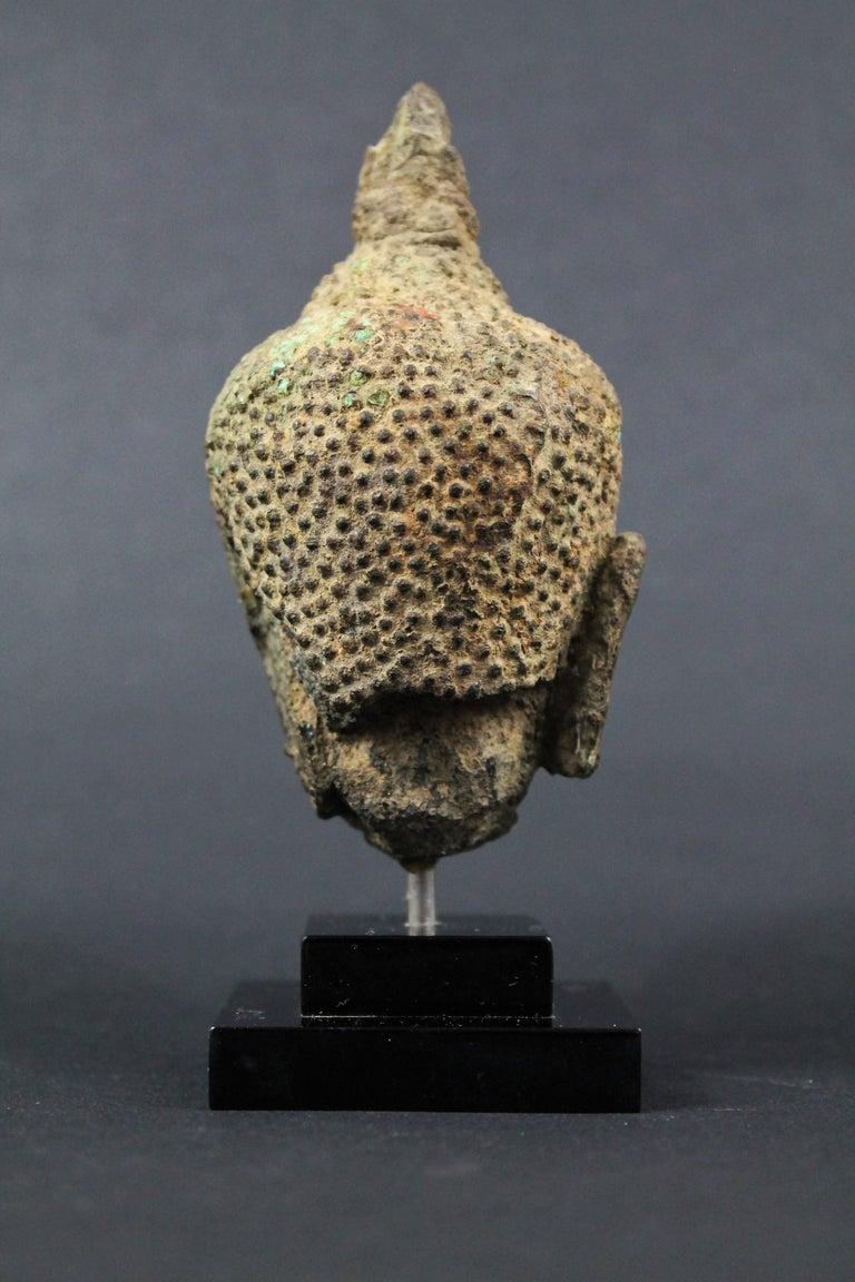 Thai 17th Century Bronze Head of Buddha. Sukhothai For Sale 1