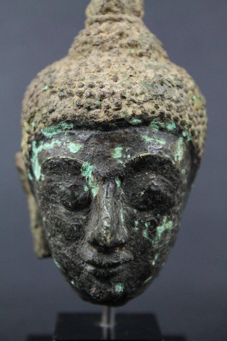 Thai 17th Century Bronze Head of Buddha. Sukhothai For Sale 2