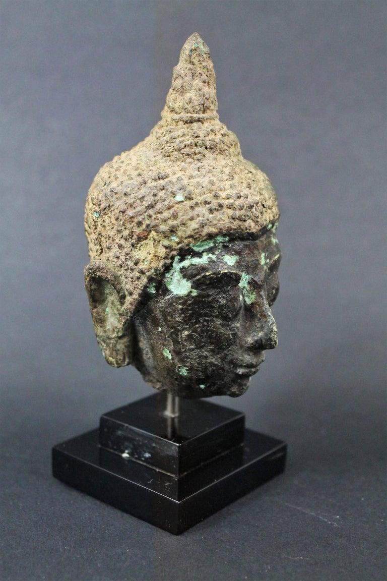 Thai 17th Century Bronze Head of Buddha. Sukhothai For Sale 3