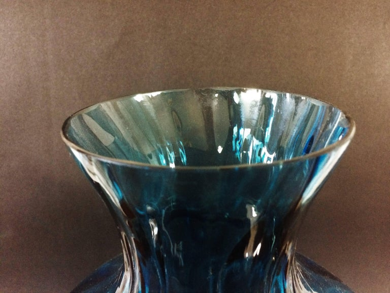 Large blue blown glass vase. 1970s.