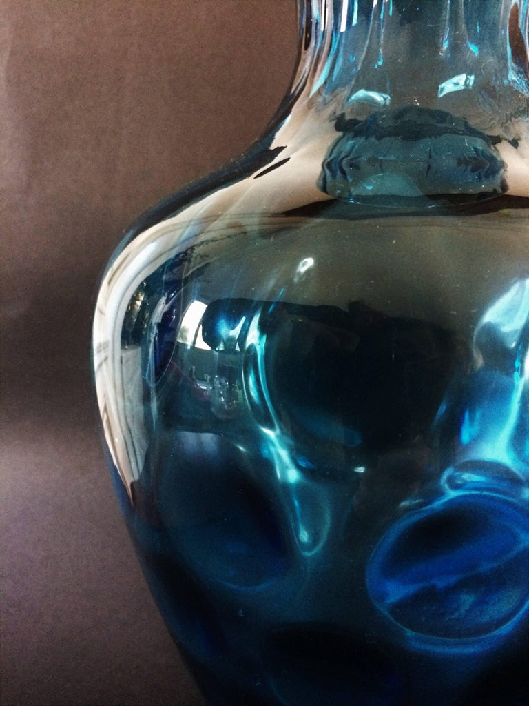 European Vintage 1970s Blue Glass Vase For Sale