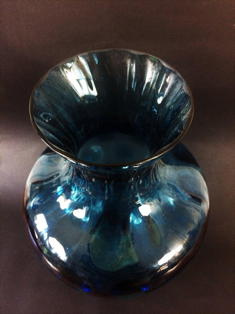 Late 20th Century Vintage 1970s Blue Glass Vase For Sale