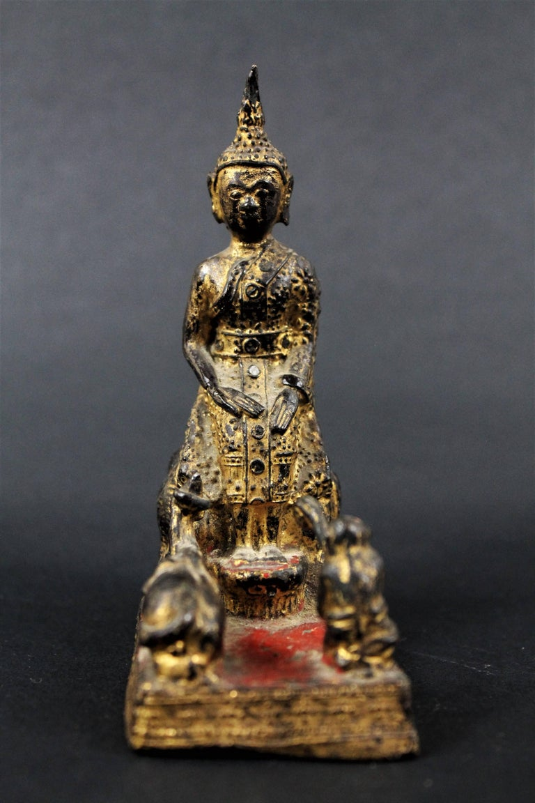 18th Century Thailand Siam Rattanakosin Bronze Lacquered and Gilded Buddha  In Good Condition For Sale In Beuzevillette, FR