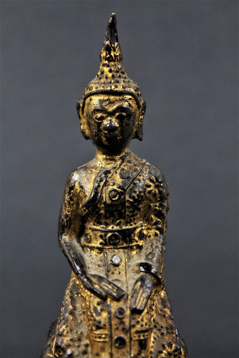 18th Century and Earlier  18th Century Thailand Siam Rattanakosin Bronze Lacquered and Gilded Buddha  For Sale