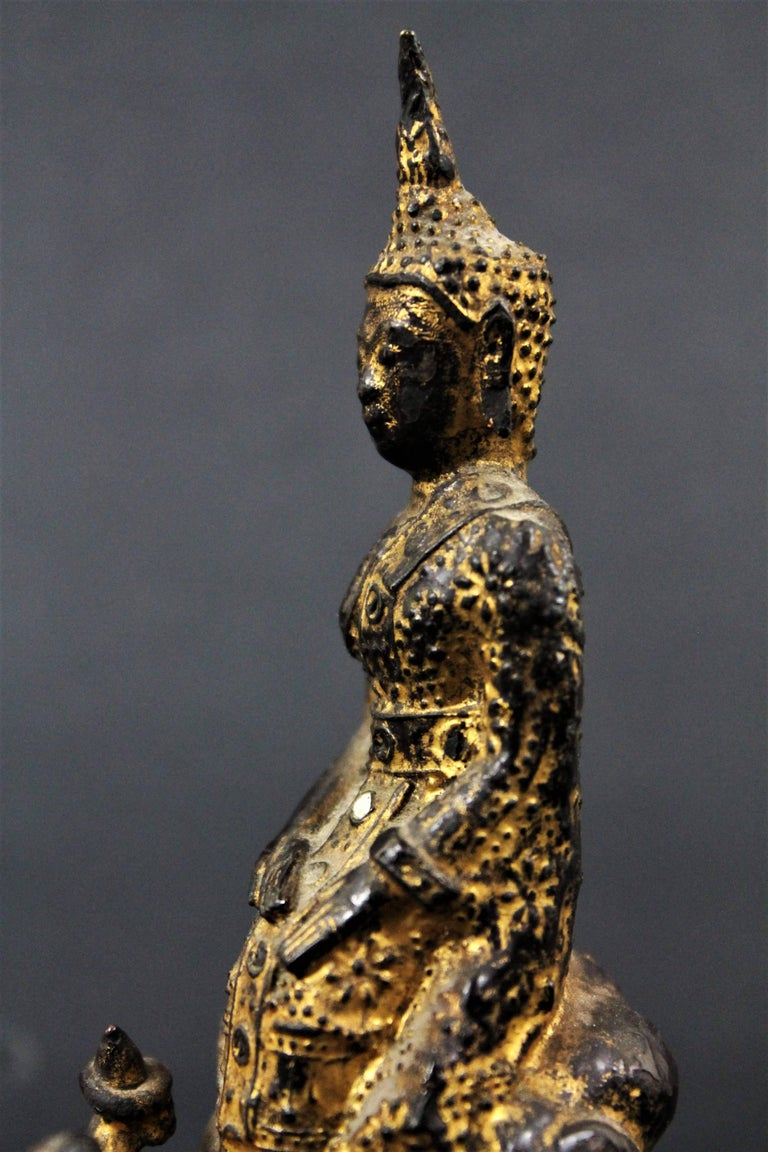 18th Century Thailand Siam Rattanakosin Bronze Lacquered and Gilded Buddha  For Sale 1
