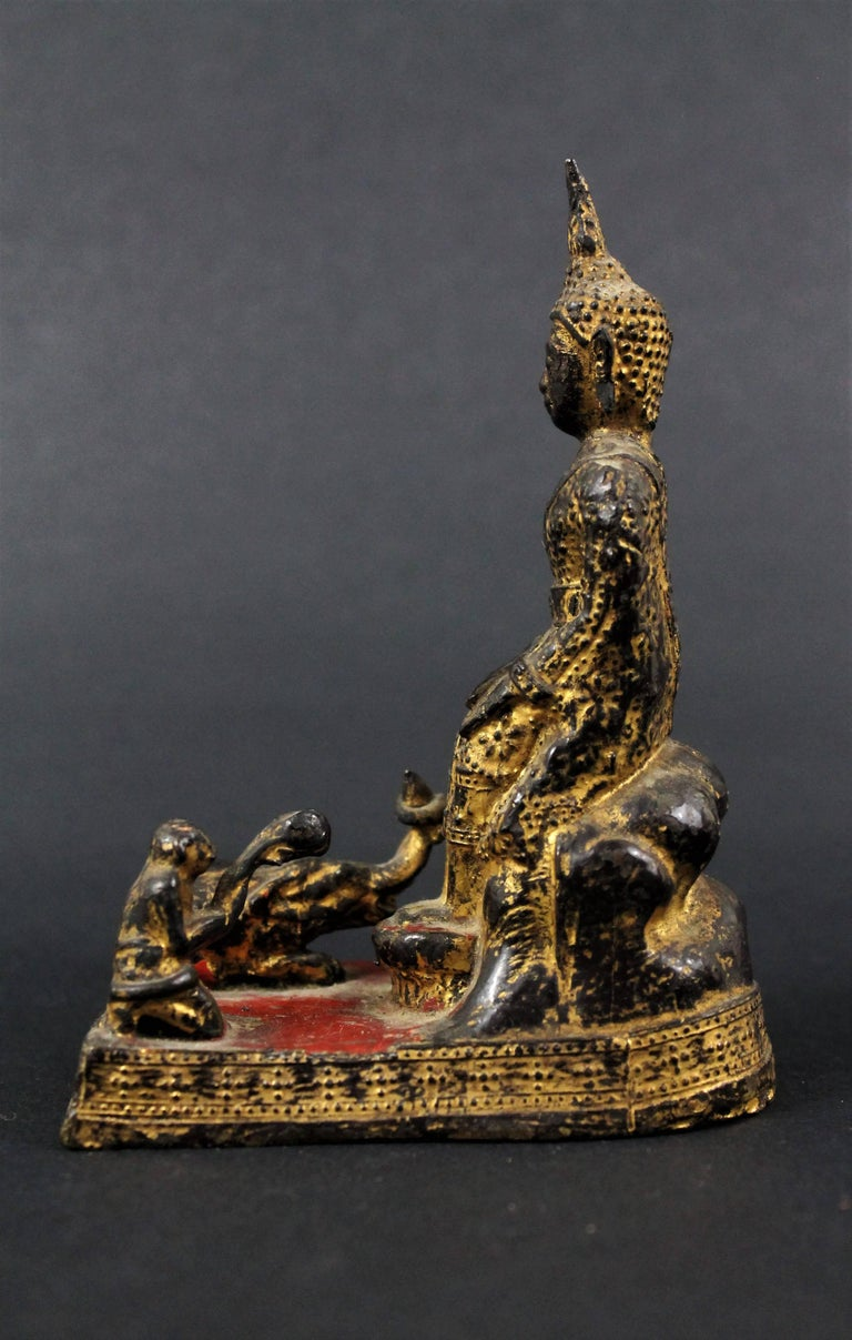 18th Century Thailand Siam Rattanakosin Bronze Lacquered and Gilded Buddha  For Sale 2