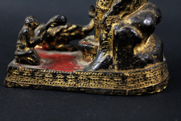 18th Century Thailand Siam Rattanakosin Bronze Lacquered and Gilded Buddha  For Sale 4