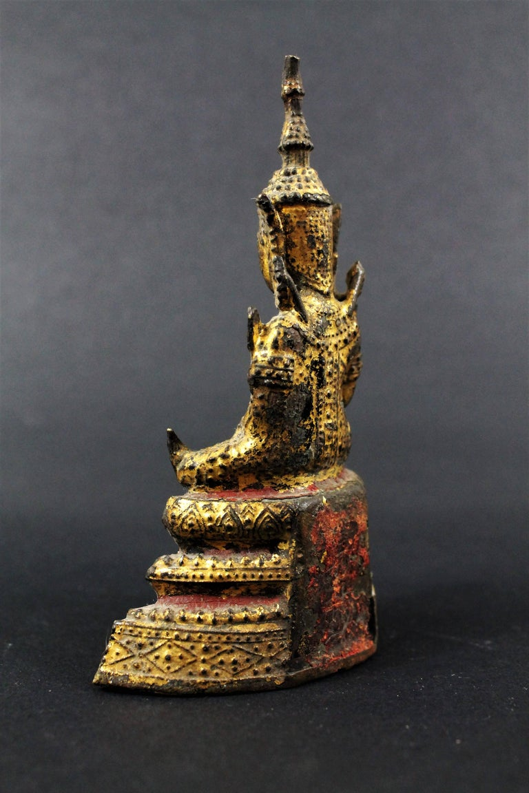 Thailand Siam 19th Century Rattanakosin Period Bouddha Guilt-Lacquered Bronze In Good Condition For Sale In Beuzevillette, FR