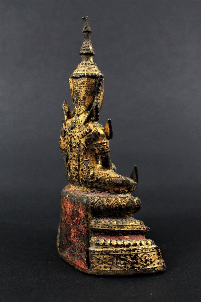 Thailand Siam 19th Century Rattanakosin Period Bouddha Guilt-Lacquered Bronze For Sale 2