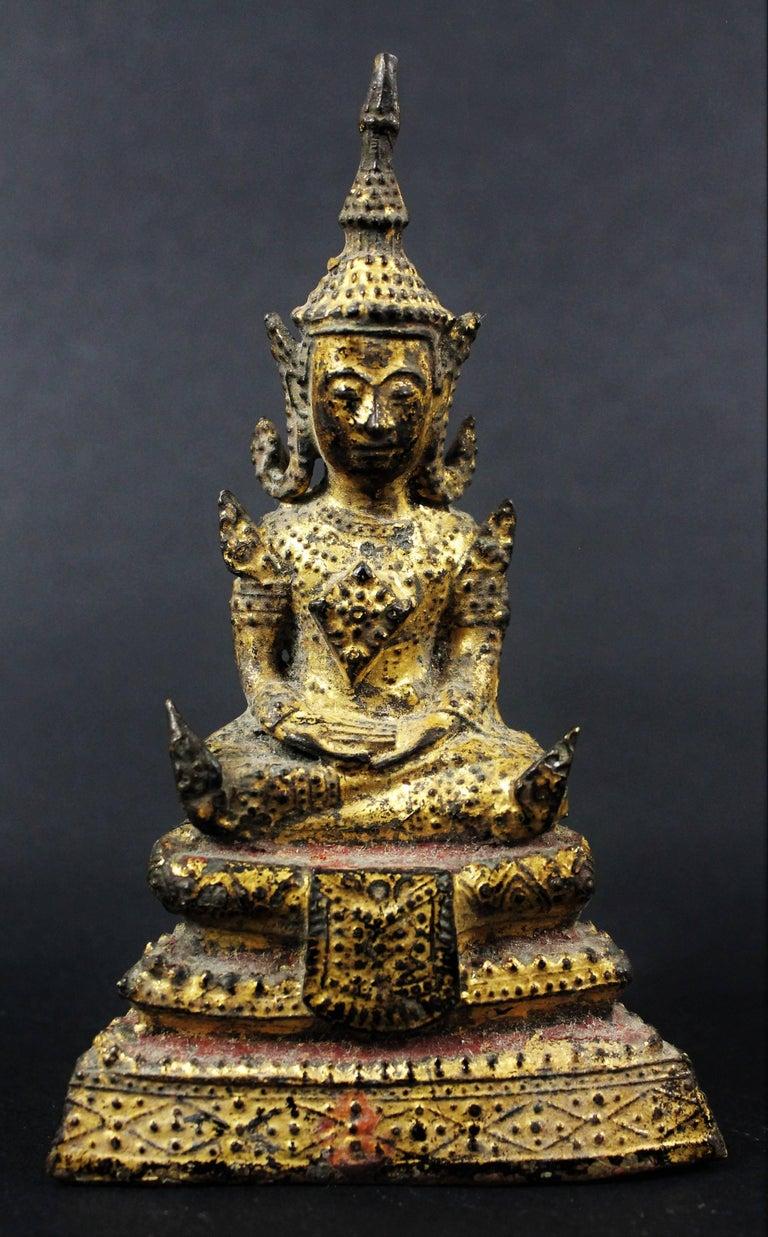 Thailand Siam 19th Century Rattanakosin Period Bouddha Guilt-Lacquered Bronze For Sale 4
