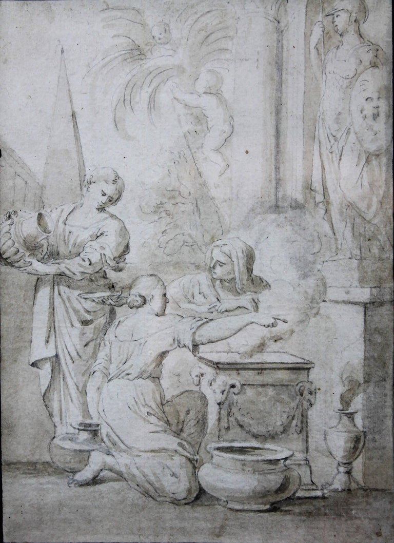 Italian lead pencil drawing, entourage of Ciro Ferri, depicting an offering scene in front of a temple, in the manner of the antiquity.  Measurements: 7.8/5.9 inches                           12.5/9.4 inches with frame Italy XVIIth century