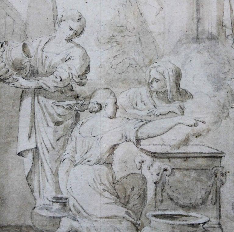 Italian  Ciro Ferri Drawing Offering Scene Italie 17th Century For Sale