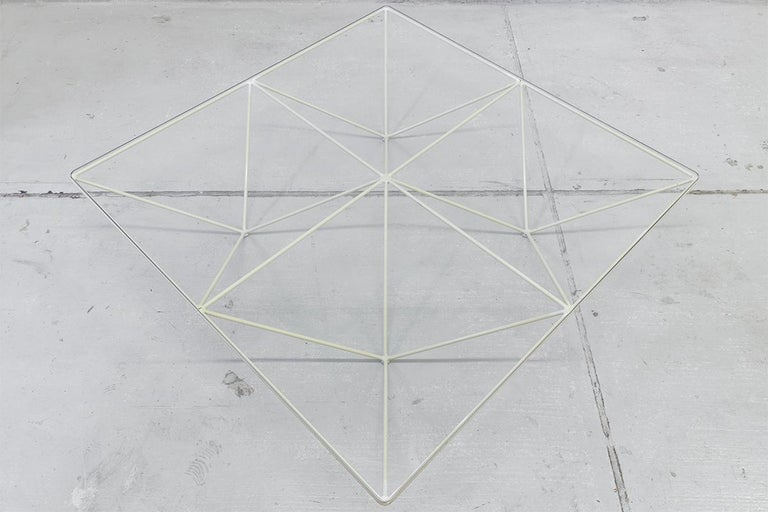 Minimalistic Paolo Piva 'Alanda' White Glass Coffee Table for B&B Italia, 1980s For Sale 2
