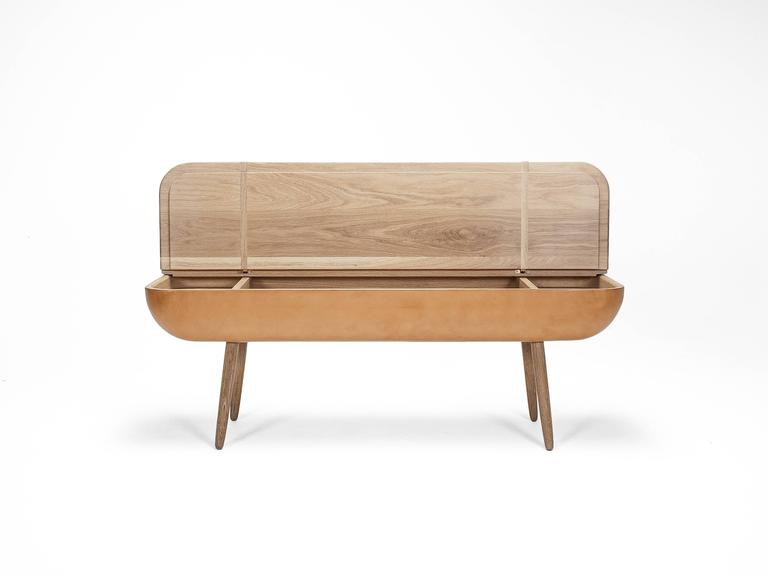 Coracle Bench with Storage, White Oak and Vegetable Tanned Leather 4