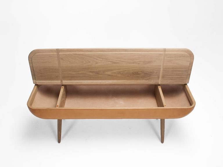 Vegetable Dyed Coracle Bench with Storage, White Oak and Vegetable Tanned Leather For Sale