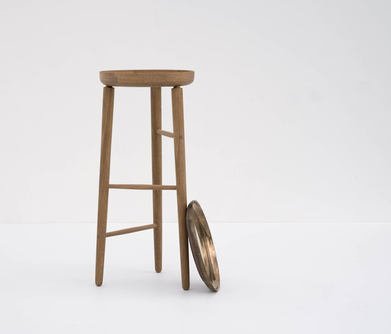 Canadian Baré Tall Plant Stand, Solid White Oak Dowel Frame with Cast Bronze Tray For Sale