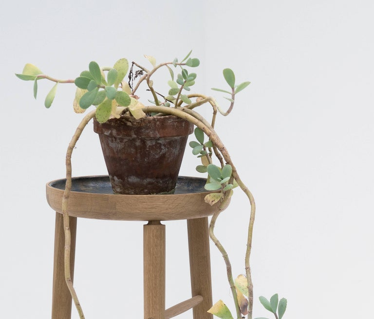 Baré Tall Plant Stand, Solid White Oak Dowel Frame with Cast Bronze Tray In New Condition For Sale In Toronto, ON