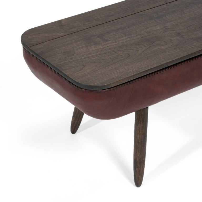 Vegetable Dyed Coracle Bench with Storage, Walnut Wood and Burgundy Vegetable Tanned Leather For Sale