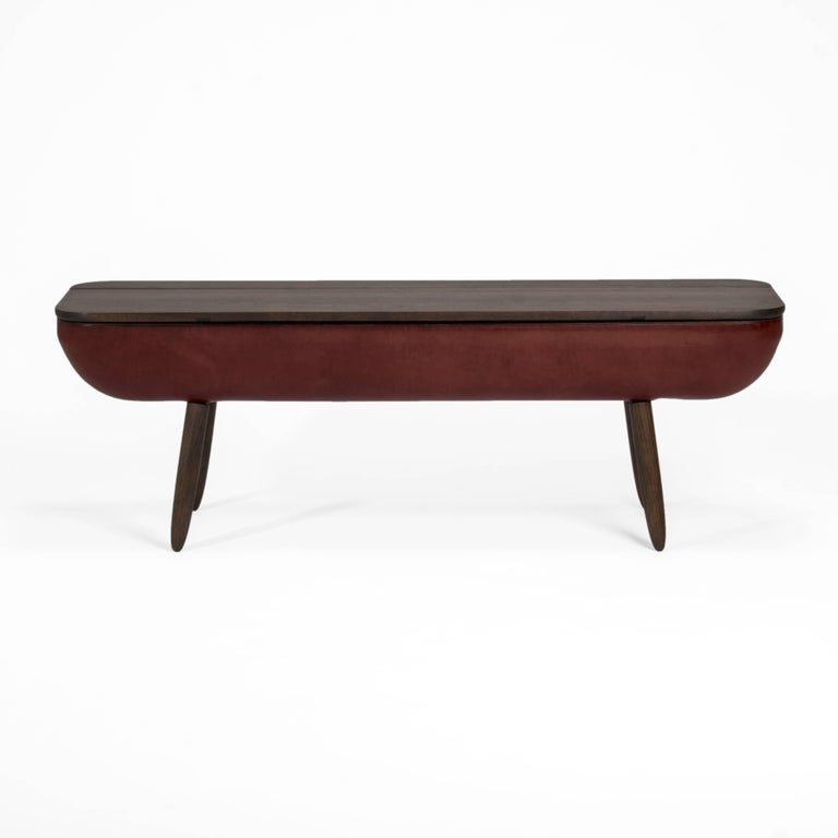 Modern Coracle Bench with Storage, Walnut Wood and Burgundy Vegetable Tanned Leather For Sale