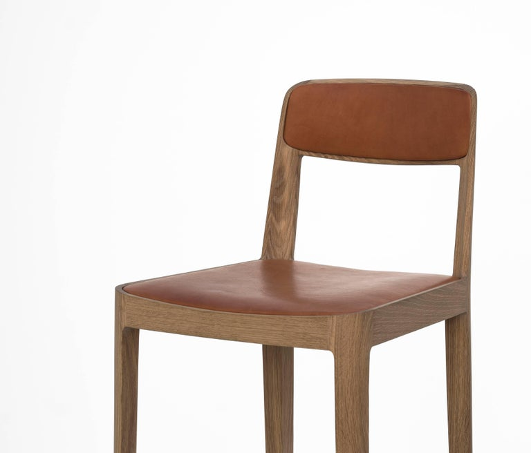 Canadian Linea Barstool, White Oak with Leather Upholstered Seat and Backrest For Sale