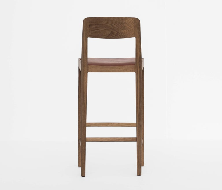 Hand-Carved Linea Barstool, White Oak with Leather Upholstered Seat and Backrest For Sale