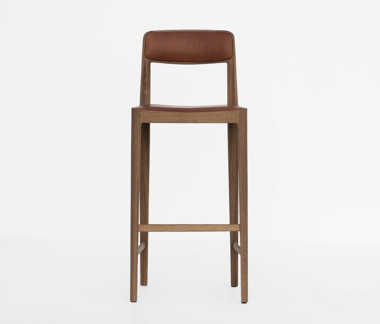Linea Barstool, White Oak with Leather Upholstered Seat and Backrest In New Condition For Sale In Toronto, ON