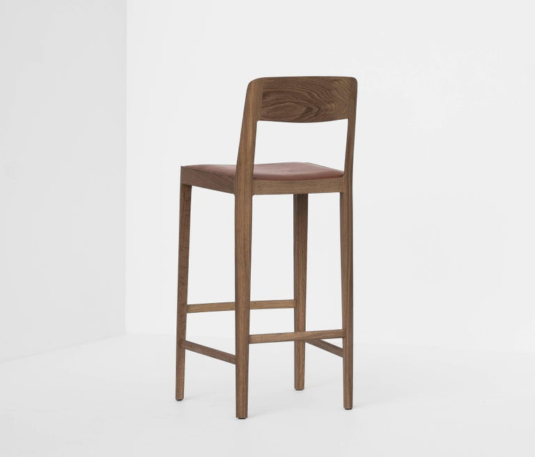 Contemporary Linea Barstool, White Oak with Leather Upholstered Seat and Backrest For Sale