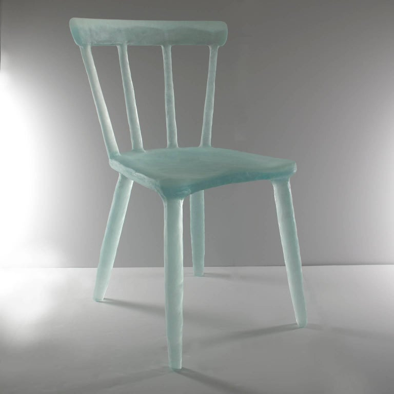 Glow Chair in Aqua, Handmade from Cast Recycled Resin, Acrylic and Plastic 3