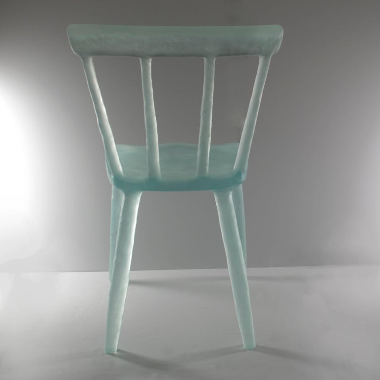 Glow Chair in Aqua, Handmade from Cast Recycled Resin, Acrylic and Plastic 4