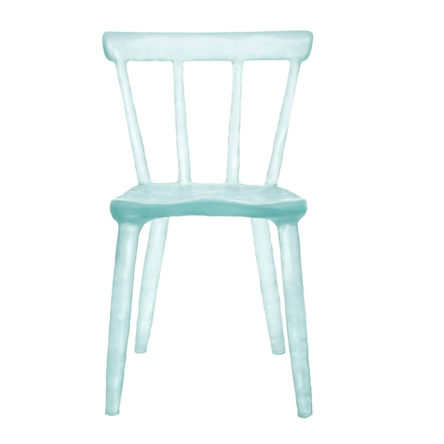 Glow Chair in Aqua Handmade from Cast Recycled Resin Acrylic and