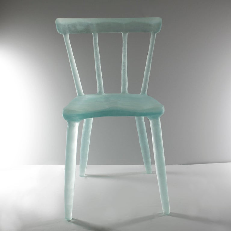 Glow Chair in Aqua, Handmade from Cast Recycled Resin, Acrylic and Plastic 2