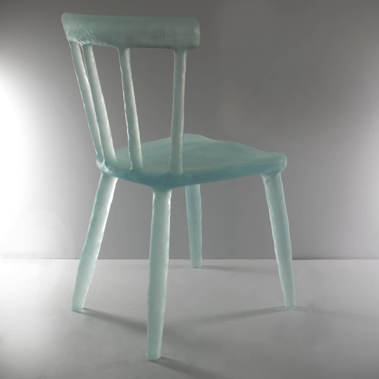 Glow Chair in Aqua, Handmade from Cast Recycled Resin, Acrylic and Plastic 5
