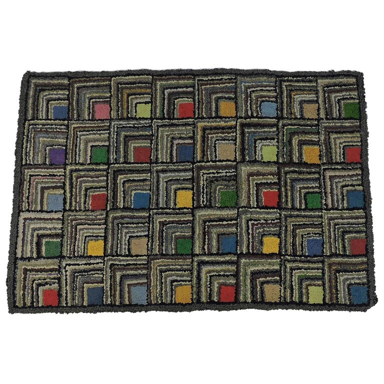 Antique Geometric Log Cabin Pattern Hooked Rug