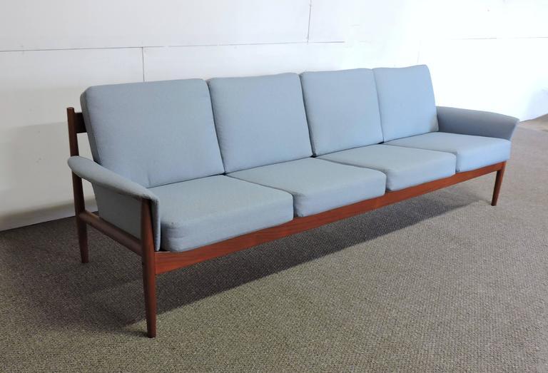 Scandinavian Modern Grete Jalk Danish Modern Solid Teak Four Seat Sofa For  Sale