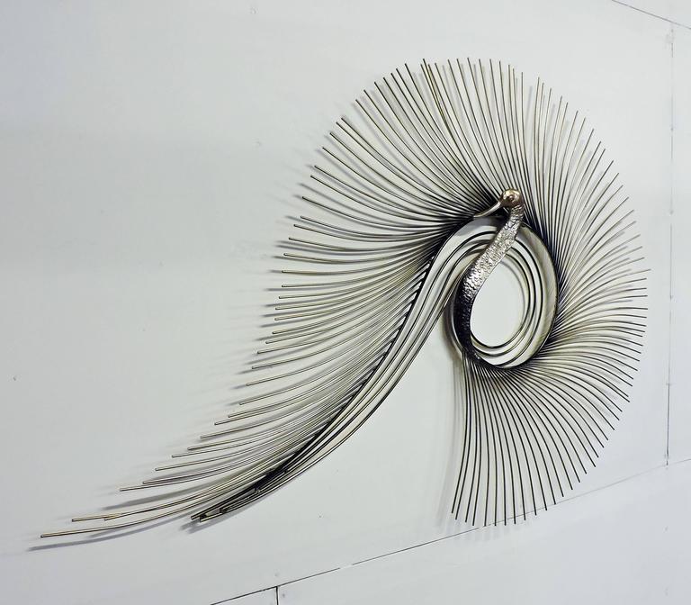 Curtis Jere Brass Peacock Wall Sculpture Mid Century Modern Metal
