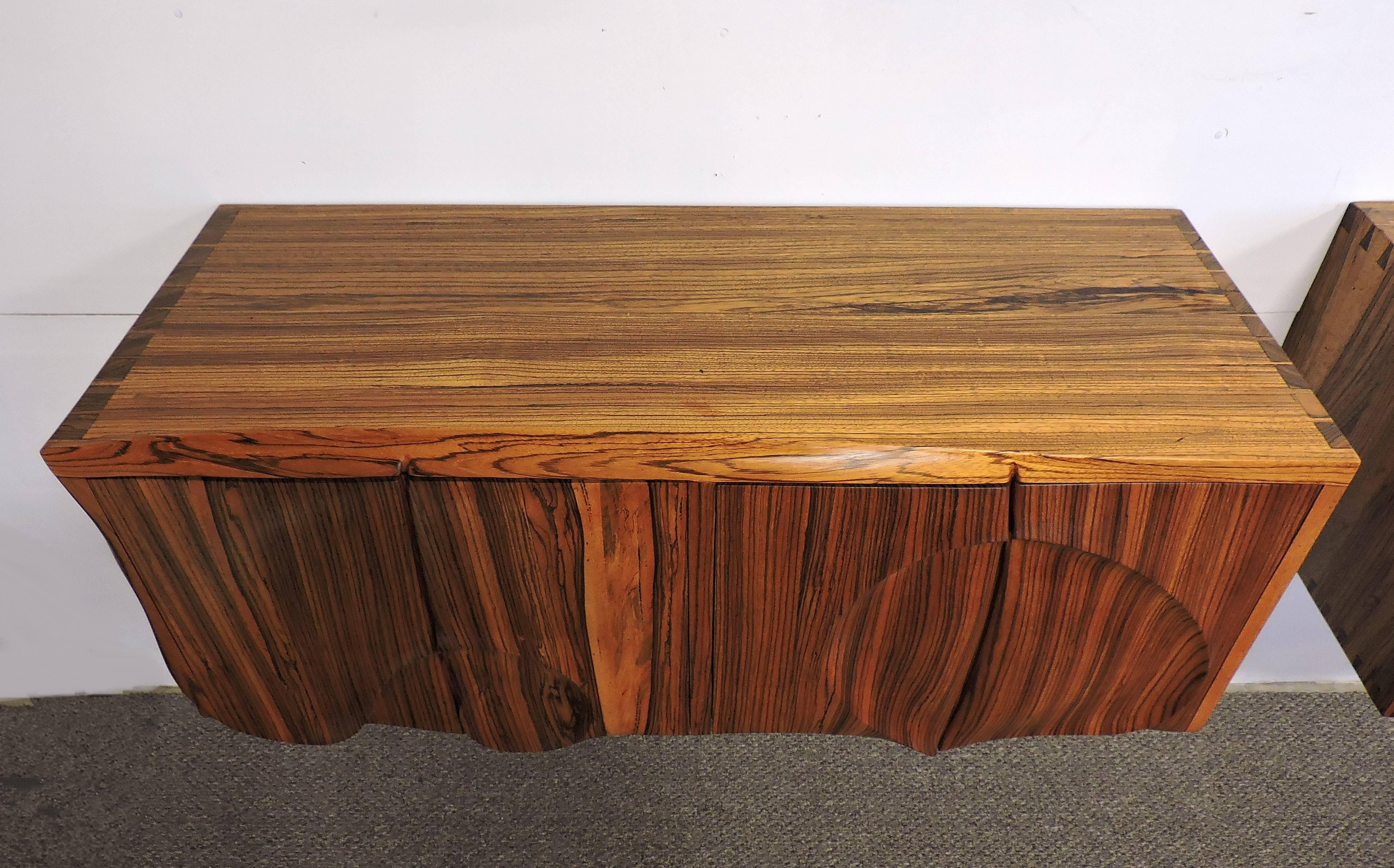 American Studio Phillip Powell Style Mid Century Modern Zebra Wood Cabinets  In Good Condition For