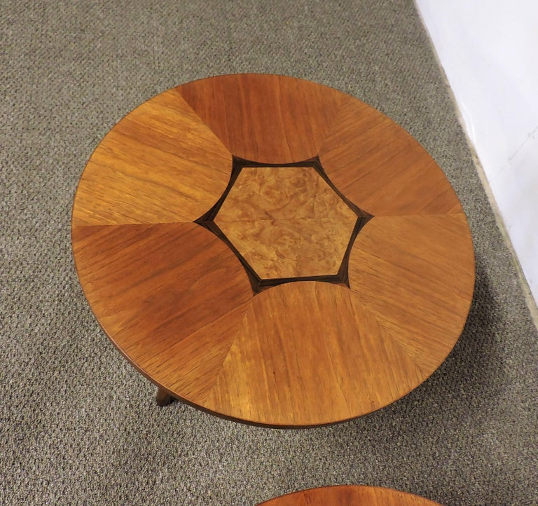 Inlay Mid-Century Modern Pair of Gueridon Tripod Inlaid Walnut End Tables by Drexel For Sale