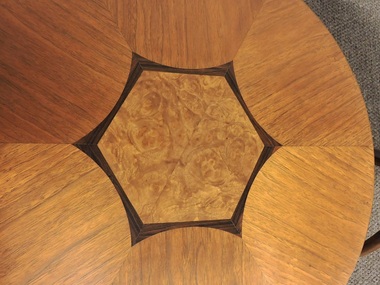 Mid-20th Century Mid-Century Modern Pair of Gueridon Tripod Inlaid Walnut End Tables by Drexel For Sale