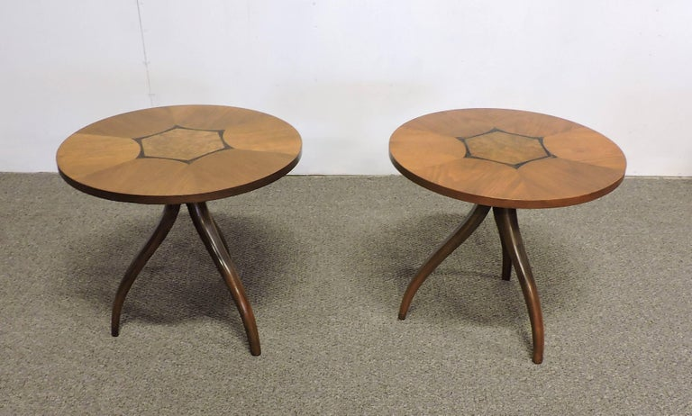 Mid-Century Modern Pair of Gueridon Tripod Inlaid Walnut End Tables by Drexel For Sale 2