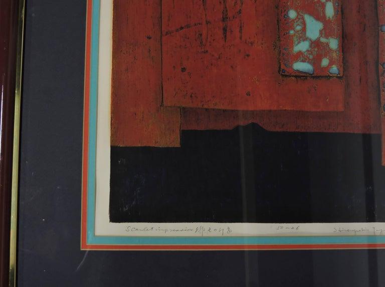 Paper Mid-Century Modern Hiroyuki Tajima Abstract Japanese Woodcut Print For Sale