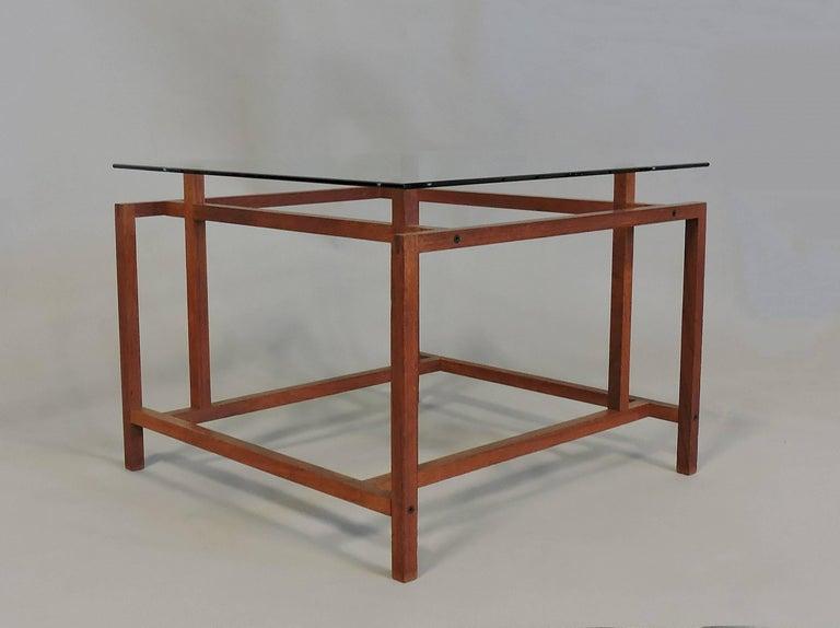 Scandinavian Modern Danish Modern Teak and Glass Side End Table by Henning Norgaard for Komfort