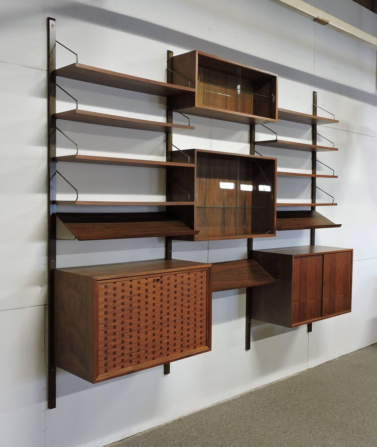 Scandinavian Modern Poul Cadovius Midcentury Danish Modern Walnut Cado Royal Modular Wall Unit For Sale
