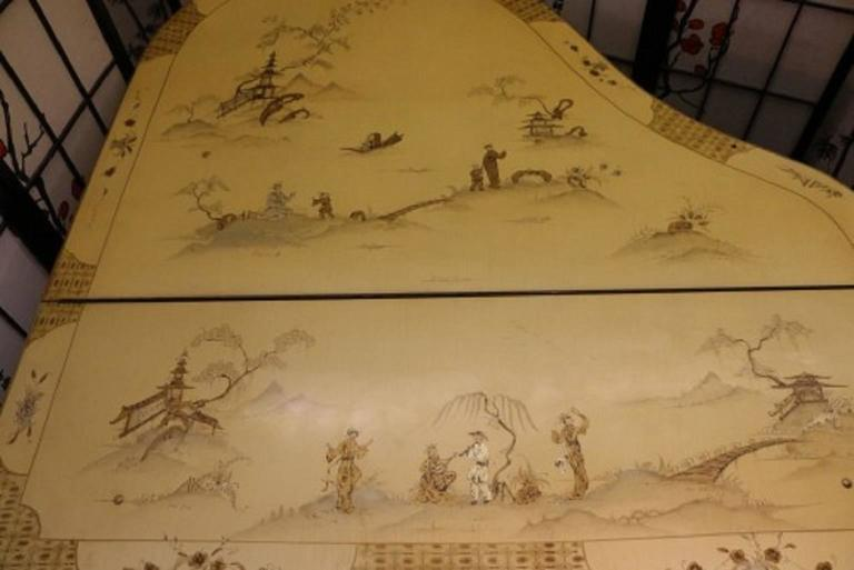 Art Case Piano Chinoiserie Style Hand Painted Masterpiece by Stroud 4
