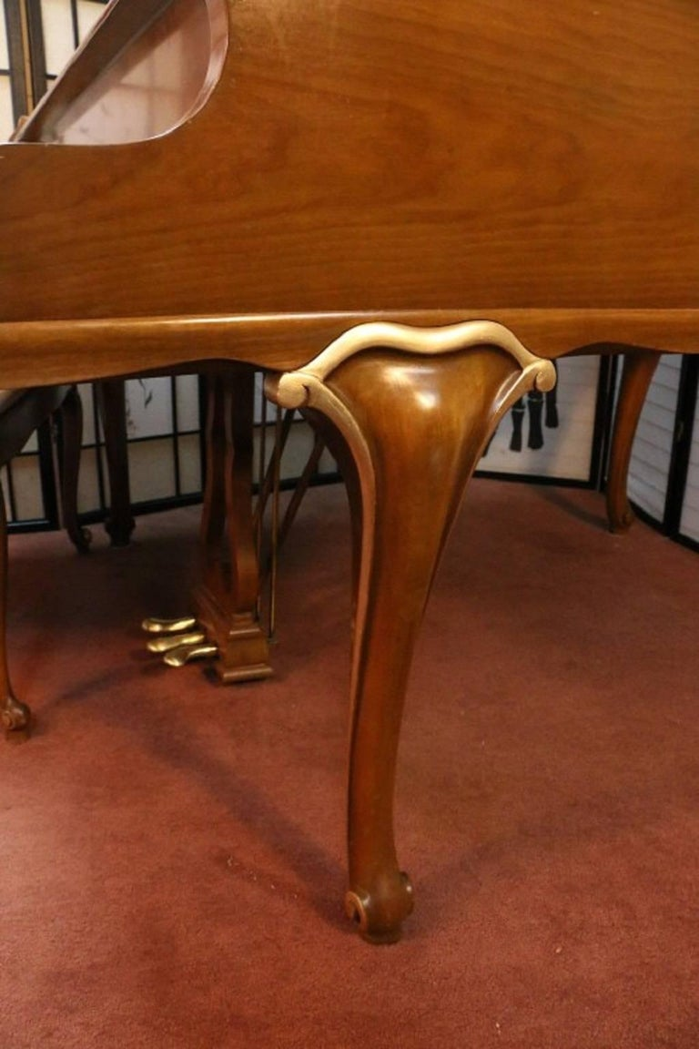 Art Case Chippendale Style Walnut Knabe Baby Grand Piano with Gold Trim 3