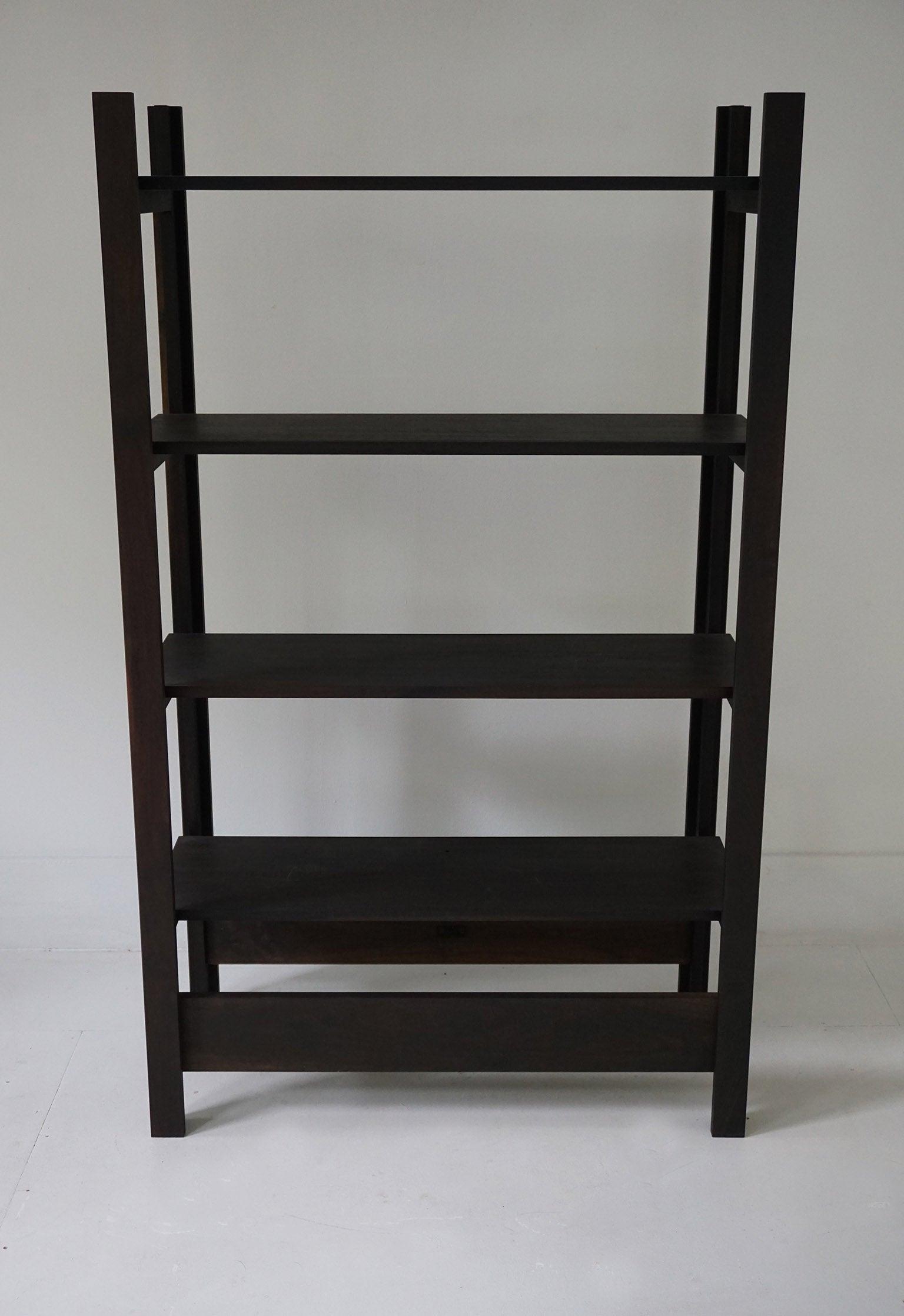 Upland Shelving Unit, Walnut Modern Minimal Bookshelf Or Display Shelves