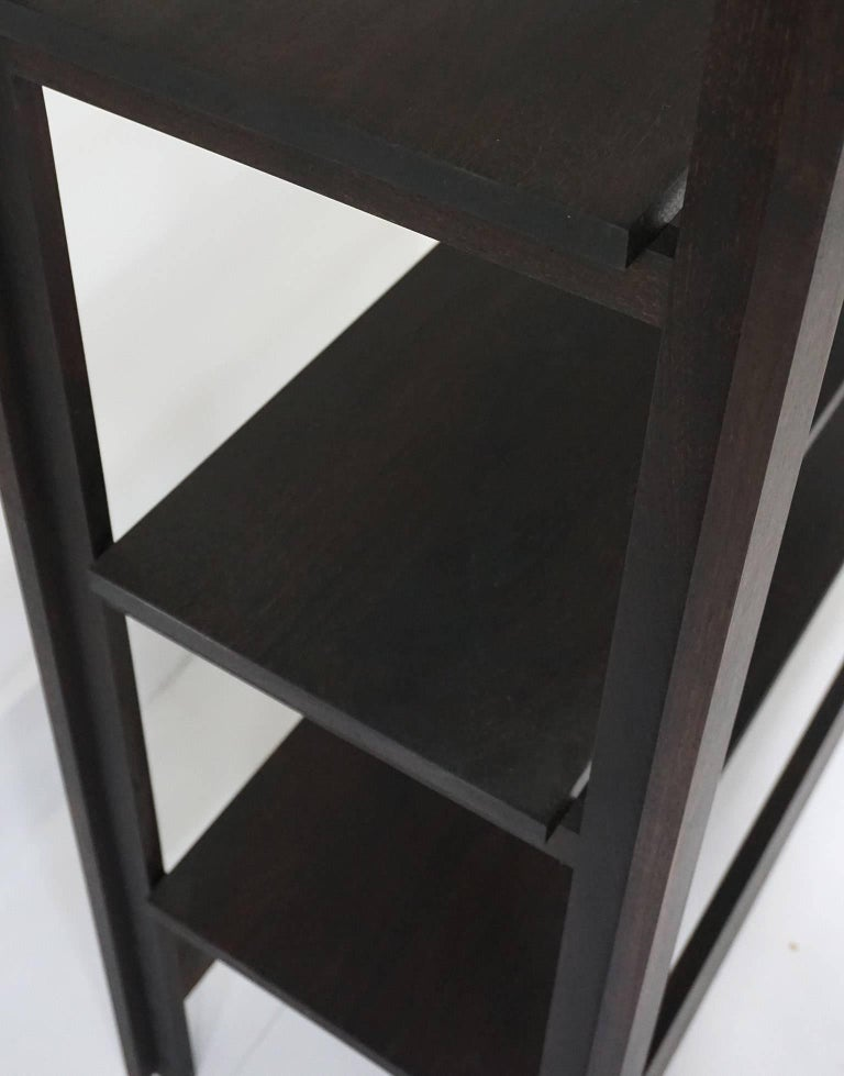 Upland Shelving Unit, Walnut Modern Minimal Bookshelf or Display Shelves In New Condition For Sale In Kingston, NY