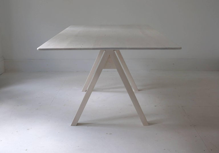 Contemporary Spectral Dining Table / Bleached Maple Minimal Modern Trestle Table or Desk For Sale