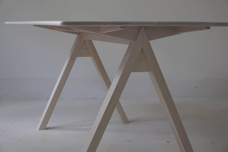 American Spectral Dining Table / Bleached Maple Minimal Modern Trestle Table or Desk For Sale